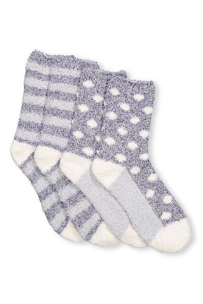 2Pk Cosy Lounge Sock, BLUE STRIPE
