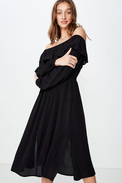 Woven Wella Off The Shoulder Midi Dress, BLACK