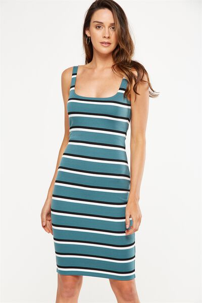 Kimi Scooped Bodycon Midi Dress, PINE GREEN/BLACK/WHITE STRIPE
