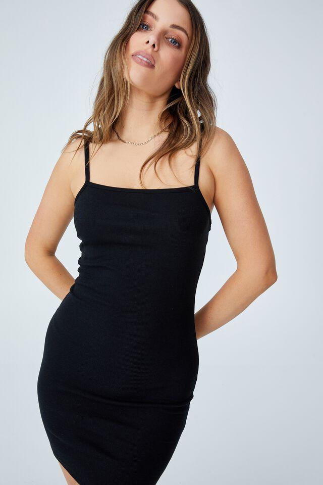 Finn Straight Neck Strappy Mini Dress, BLACK