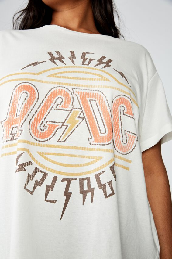 Curve Graphic License Tee, LCN PER ACDC HIGH VOLTAGE/GARDENIA