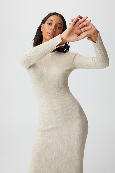 Ultimate Knit Midi Dress, TAUPE MARLE