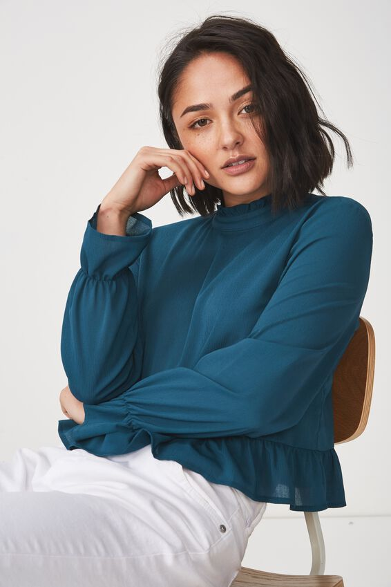 Bree Frill Blouse, DEEP TEAL