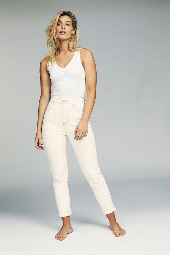 Stretch Mom Jean, BONE WHITE