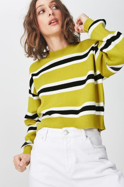 Chloe Cropped Luxe Pullover, AMBER GREEN STRIPE
