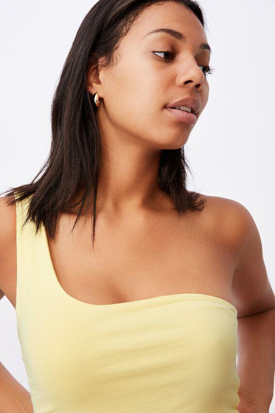 One Shoulder Sleeveless Top, LEMON