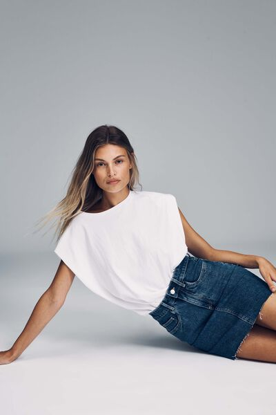 Classic Stretch Denim Mini Skirt, COOGEE BLUE