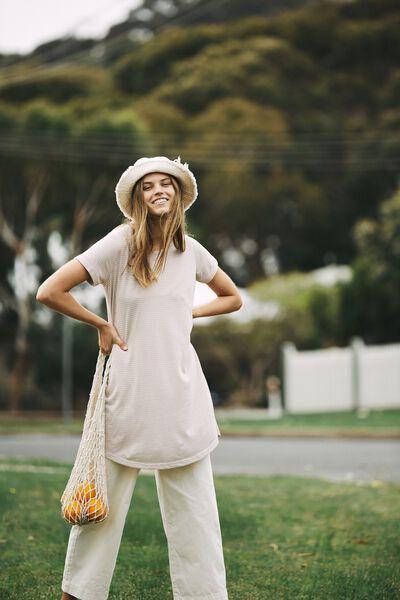 Tina Tshirt Dress 2, MINI MOLLY STRIPE NOMAD/WHITE