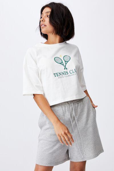Chopped Boyfriend Tee, TENNIS CLUB/GARDENIA