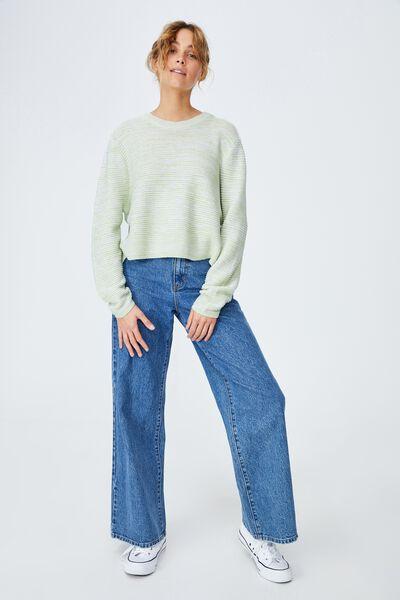 Cotton Cropped Pullover, SAGE GREEN WHITE TWIST