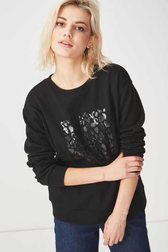 Ferguson Graphic Crew Sweater, LEOPARD SQUARE/BLACK