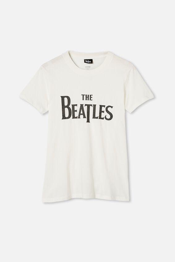 Classic Beatles Logo T Shirt, LCN APP BEATLES LOGO/GARDENIA