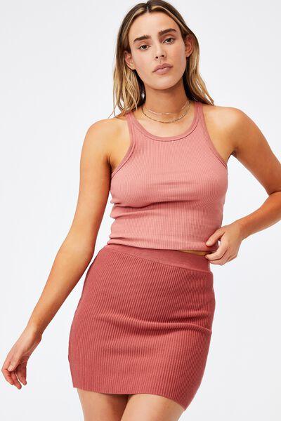 Blair Knit Mini Skirt, VINTAGE COPPER