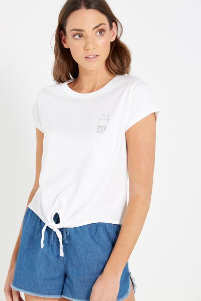 Tbar Tie Front Tee, RESTING BISH FACE/WHITE
