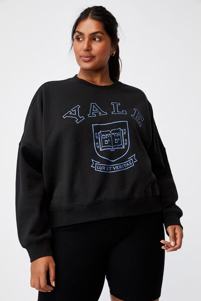 Curve Classic Graphic Crew Neck Pull Over, LCN YAL WASHED BLACK/YALE-VINTAGE LOGO