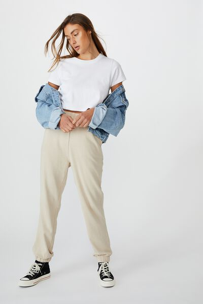 High Waisted Trackpant, LATTE GARMENT PIGMENT DYE