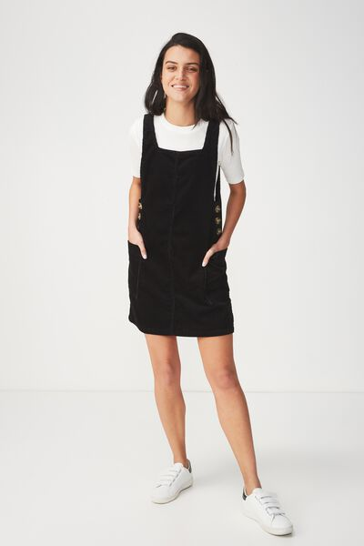 Denim Pinafore Dress, BLACK CORD