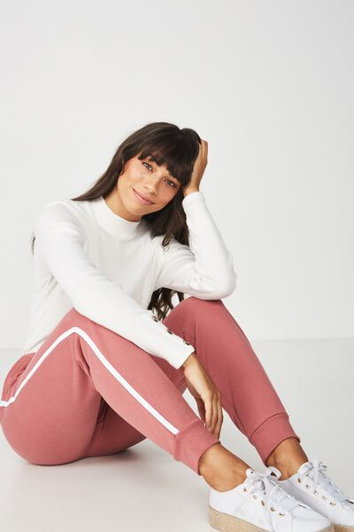 Adele Trackpant, DECO ROSE/WHITE SIDE STRIPE