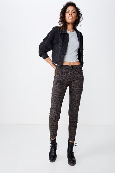 Mid Rise Jegging, ANIMAL BLACK ZEBRA
