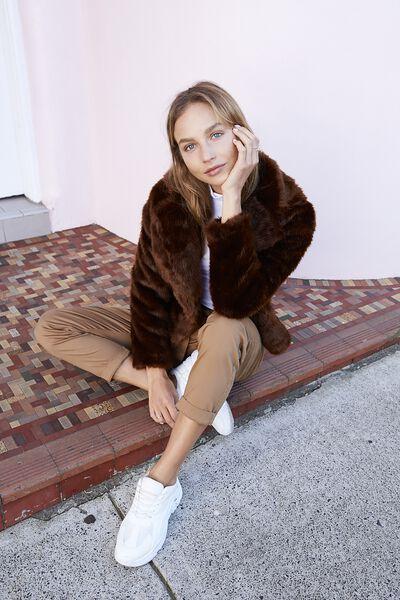 Hunter Faux Fur Coat, DEEP BROWN