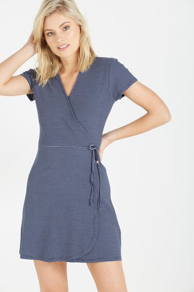 Sophia Short Sleeve Wrap Dress, SPACE NAVY/WHITE MINI TALS STRIPE