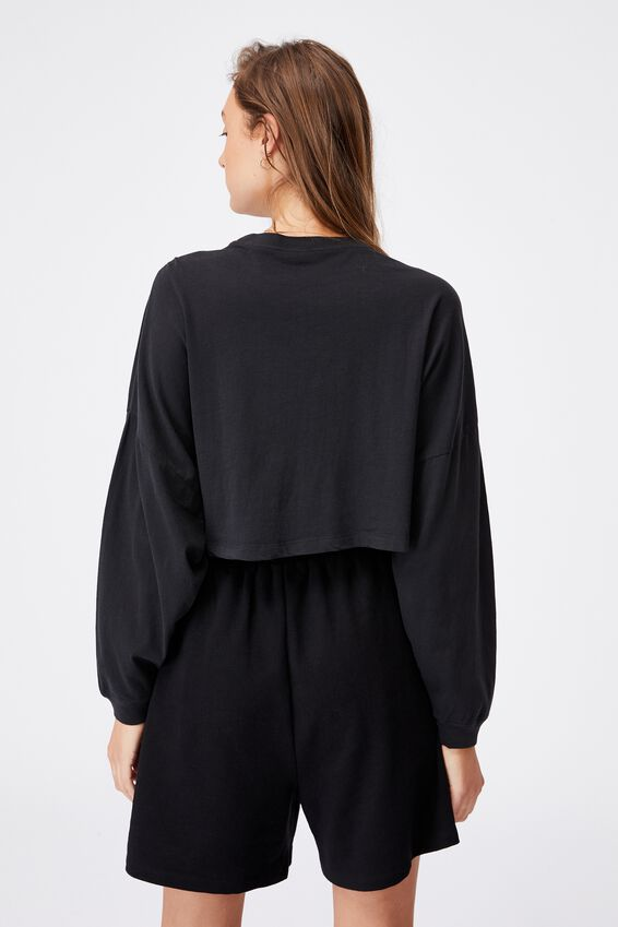 Kyle Batwing Long Sleeve Top, WASHED BLACK