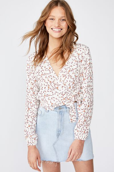 Gemma Tie Front L/S Blouse, EVIE DITSY MARSHMALLOW