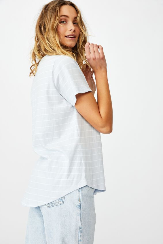 The One Crew Tee, LED STRIPE COOL BLUE/WHITE