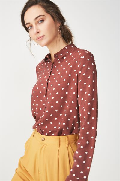 Rebecca Shirt, LENY SPOT RICH BROWN
