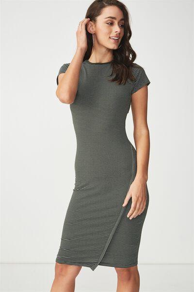 Anthea Short Sleeve Midi Dress, SALMA STRIPE DEEP DEPTHS/WHITE