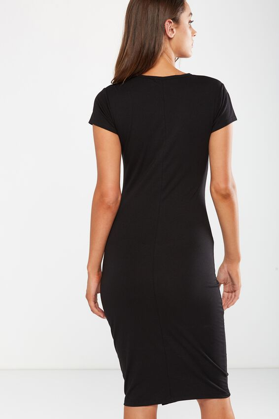 Anthea Short Sleeve Midi Dress, BLACK