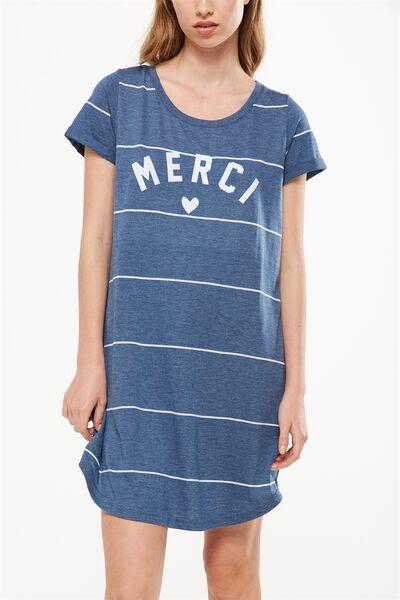 Tina Tshirt Dress 2, DENIM MARLE/WHITE LARGE WIDE STRIPE
