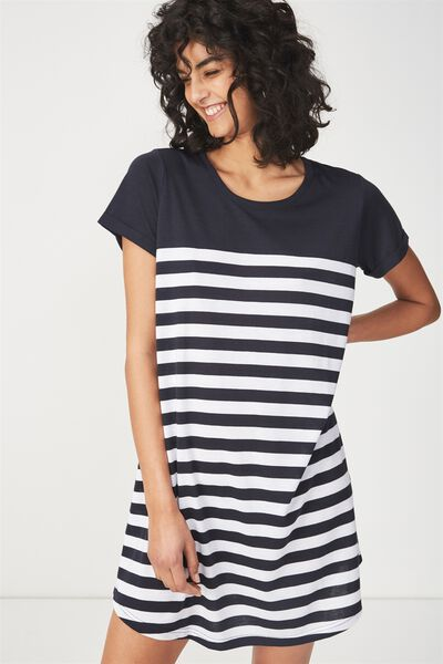 Tina Tshirt Dress 2, BRETTON STRIPE NAVY/WHITE HORIZONTAL