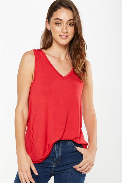 Laura Detail Tank, CHERRY RED