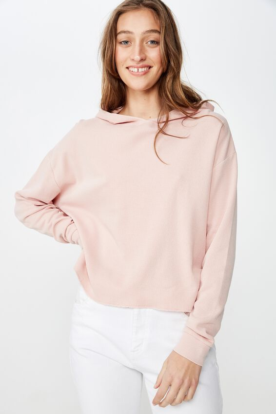 Willow Waffle Hoodie, MISTY ROSE