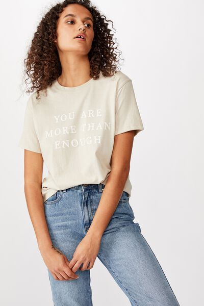 Classic Slogan T Shirt, YOU ARE MORE THAN ENOUGH/SILVER GREY