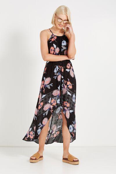 Woven Elliot High Neck Maxi Dress, MAE FLORAL BLACK