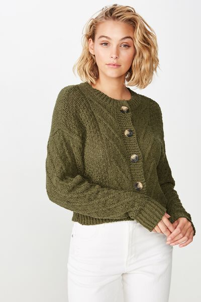 Trixie Textured Cable Button Through Cardi, BURNT OLIVE