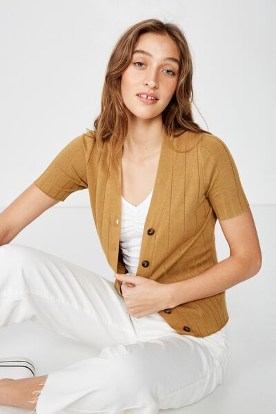 Quinnie Half Sleeve Button Through Cardi, MEDAL BRONZE MARLE
