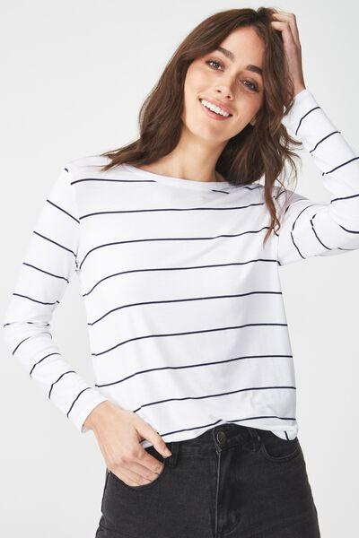 Kathleen Long Sleeve Top, WINY WIDE STRIPE WHITE/MOONLIGHT