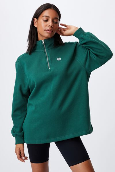 Classic 1/4 Zip Pullover, HERITAGE GREEN/GLOBE CHEST EMBROIDERY