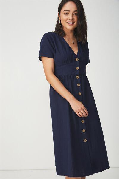 Woven Gigi Button Through Midi Dress, NAVY