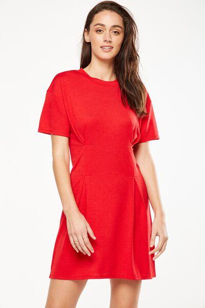 Tory Waisted Detail Tshirt Dress, TANGO RED