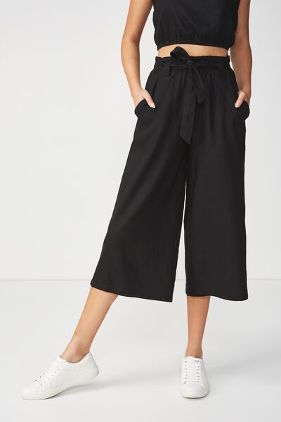 High Waist Culotte, BLACK