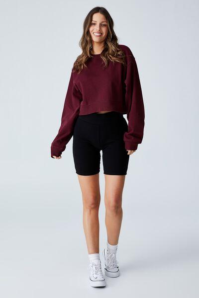 Classic Cropped Sweatshirt, RICH BERRY