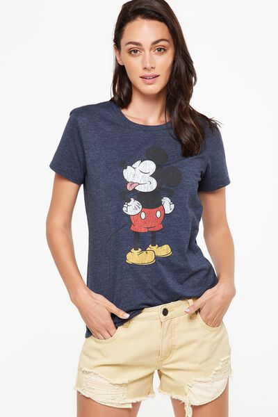 Tbar Fox Graphic T Shirt, LCN MICKEY NAUGHTY/MOONLIGHT MARLE