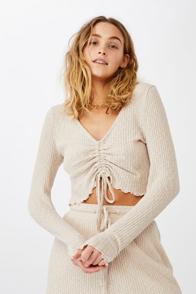 Gigi Rouched Front Long Sleeve Top, LATTE