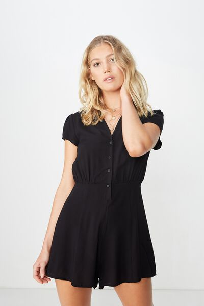 Woven Aria Short Sleeve Playsuit, BLACK