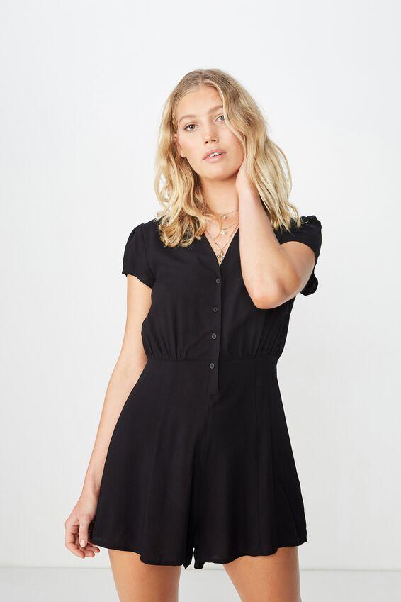 Woven Aria Short Sleeve Playsuit, BLACK