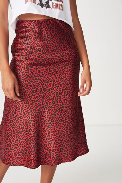 Woven Belle Bias Midi Skirt, STELLA LEOPARD SALSA ELASTICATED
